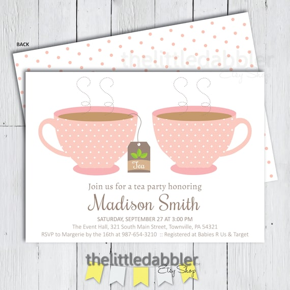 Printable Tea Party Baby Shower Or Birthday Invitation Pink Garden Party Alice In Wonderland High Tea Party Png Jpg