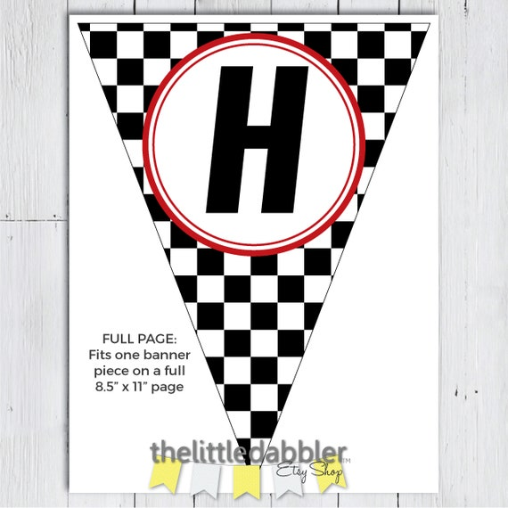 photograph relating to Checkered Flag Printable named Printable Checkered Flag Racing Pennant Banner -- Personalized