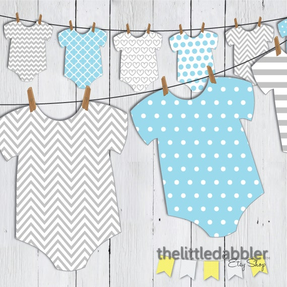 Printable Baby Shower Onesie Banner Blue Grey Baby Romper Etsy