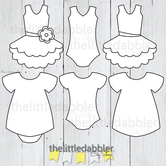 dress and tutu templates baby shower girl onesie dress etsy