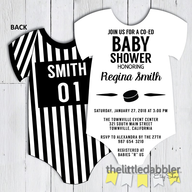 graphic regarding Printable Onesie Baby Shower Invitations named Printable Hockey Referee Onesie Youngster Shower Invitation -- Black and White Stripe Co-Ed Onesie Formed Father Shower Invitation -- PNG JPG