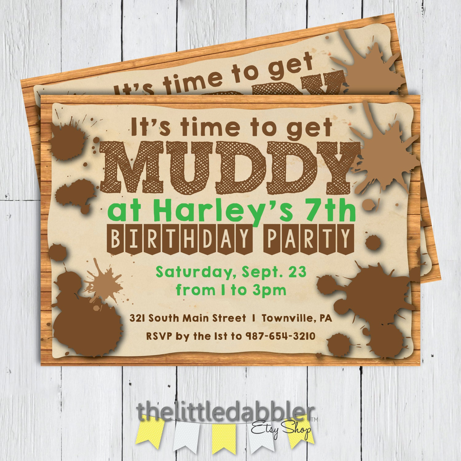Printable Mud Birthday Party Invitation It's Time To