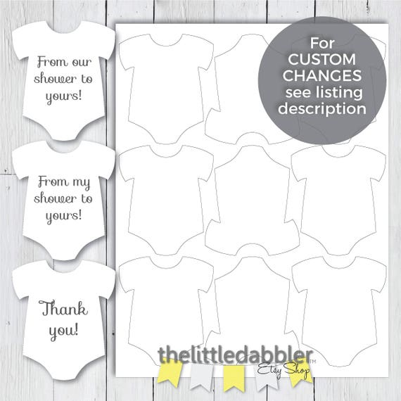 Printable Mini Onesie Baby Shower Favor Tags From Our Shower To Yours Tags From My Shower To Yours Thank You And Blank Template