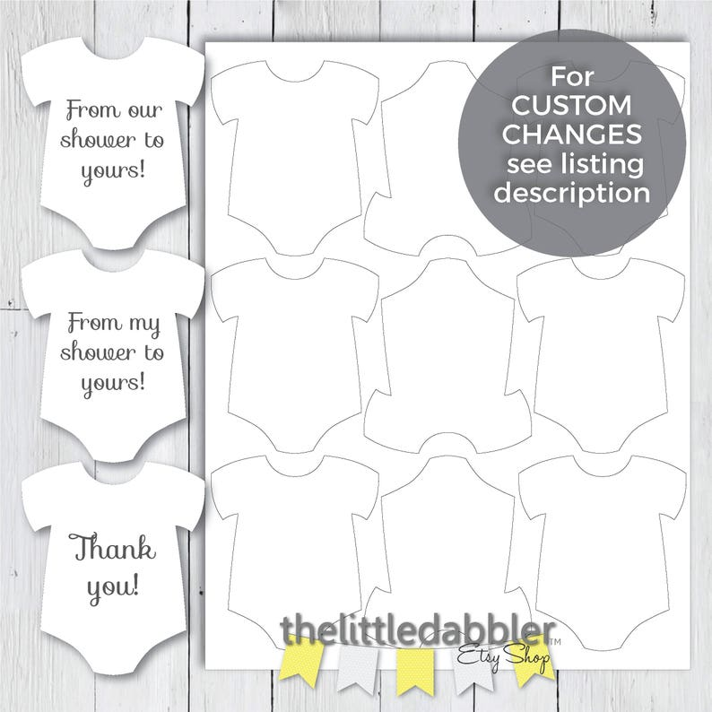 image about Free Printable Baby Shower Favor Tags identified as Printable Mini Onesie Child Shower Prefer Tags -- In opposition to Our Shower toward Yours Tags, Against My Shower toward Yours, Thank By yourself, and Blank Template