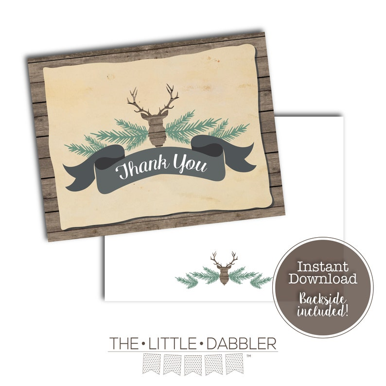 Printable Oh Deer Baby Shower Thank You Card Rustic Country  Deer Head Hunting Wood Baby Shower Thank You Note