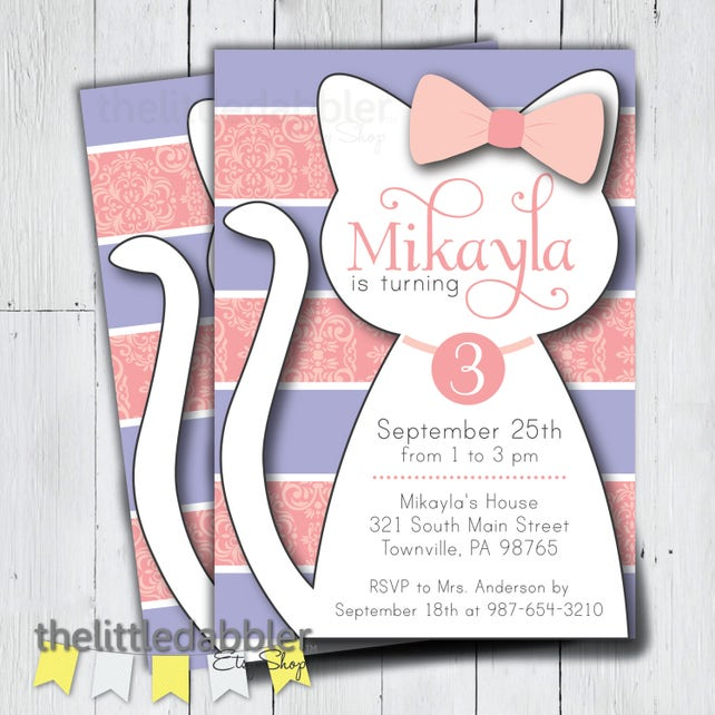 Printable Kitty Cat Birthday Party Invitation Pink Purple Kitty