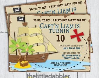 Printable Pirate Birthday Party Invitation -- Pirate Ship Treasure Map Birthday Invitation, Treasure Hunt Party, Cute Pirate, Little Pirate