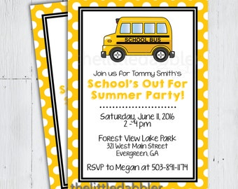 End of School Year Party Invitation -- School's Out For Summer, Last Day of School, Yellow School Bus Invitation -- Printable PNG, JPG, PDF
