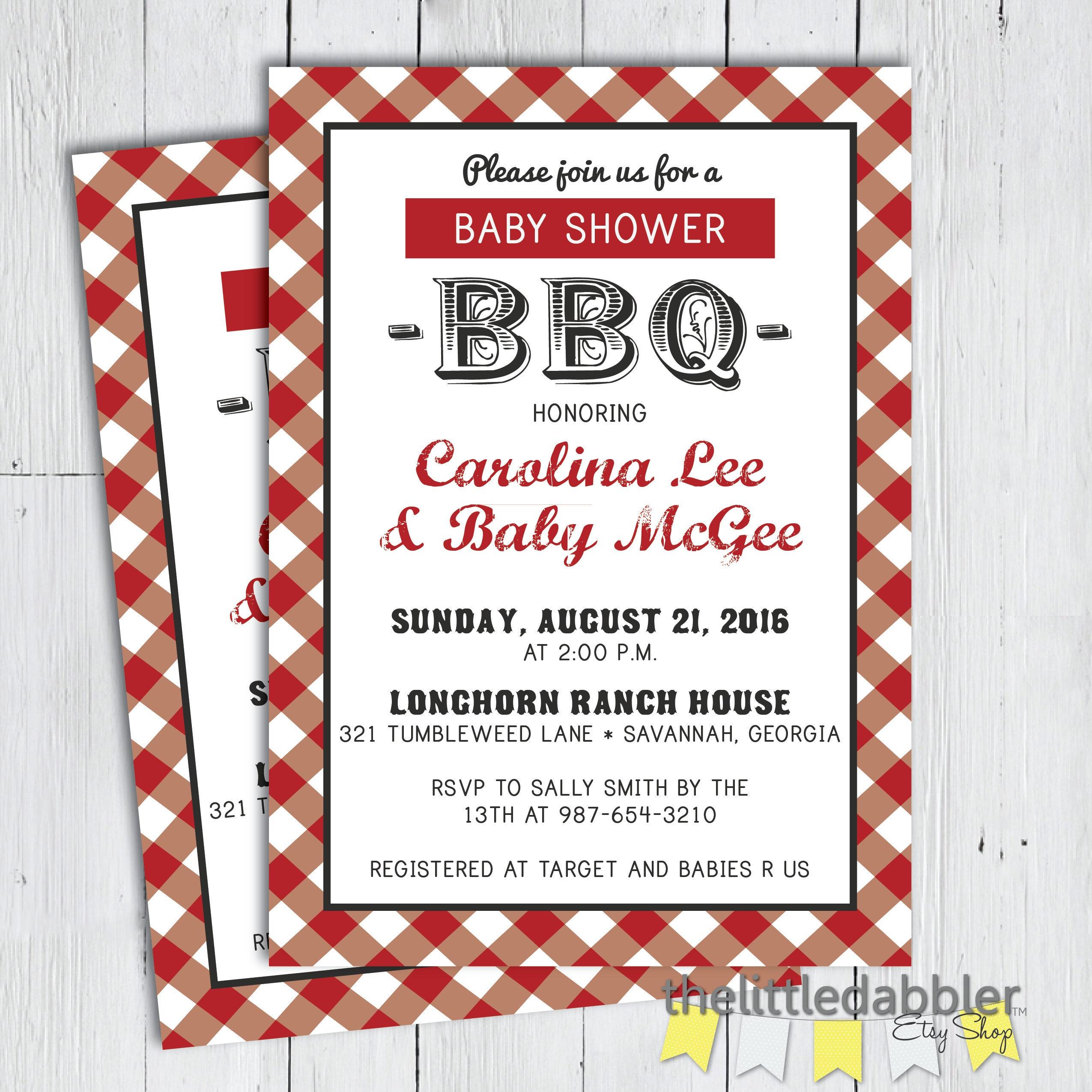 Printable BBQ Baby Shower Invitation Baby Q Shower Baby | Etsy