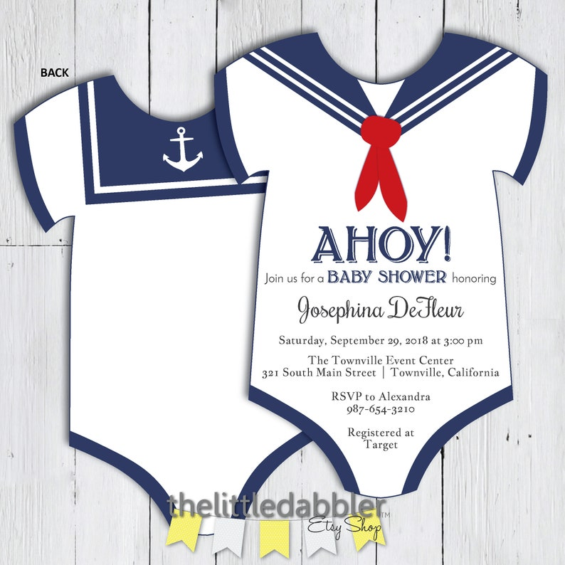 photograph about Printable Onesie Baby Shower Invitations titled Printable Sailor Onesie Little one Shower Invitation -- Nautical Army Uniform Onesie Pink White and Blue Boy or girl Shower Invitation