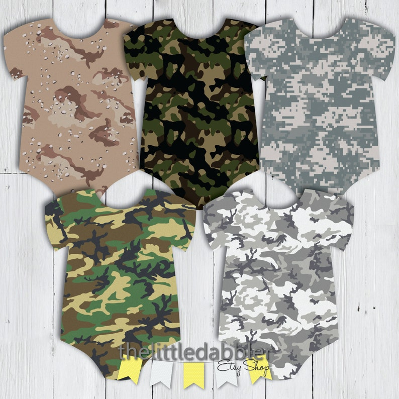 image relating to Camo Printable identify Printable Camo Onesie Boy or girl Shower Banner - Miltary Armed service or Seeking Topic Kid Shower Banner - PDF PNG Documents