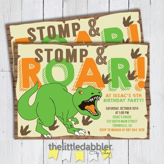 Printable T Rex Dinosaur Birthday Party Invitation Stomp