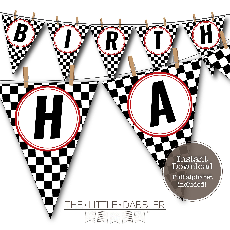 Printable Checkered Flag Racing Pennant Banner Red Custom Etsy