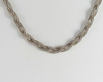 """Sterling Silver Braided Necklace 18"""" inch"""