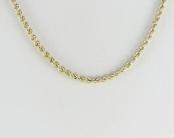 Mens 14K Yellow Gold Rope Chain Necklace 20 inch Long 2.5 mm wide