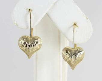10k Yellow Gold Textured Puffy Heart Earrings Dangle Drop Earrings