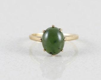 10k Yellow Gold Green Jade Ring Size 4 3/4