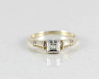 14k Yellow Gold and White Gold Diamond Ring Vintage Engagement Size 6