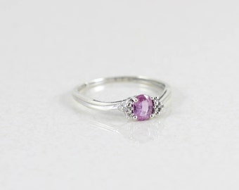 10k White Gold Pink Sapphire and Diamond Ring Size 7 1/4