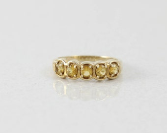 10k Yellow Gold Citrine Band Ring Size 8 1/4