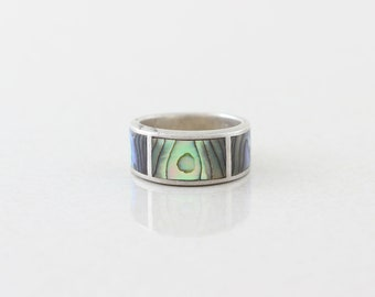 Sterling Silver Abalone Band Ring Size 5 3/4