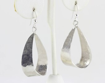 Sterling Silver Dangle Drop Earrings Taxco mexico Hammered earrings