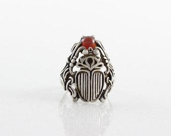Sterling Silver Garnet Scarab Ring Beetle Ring Size 6 1/4
