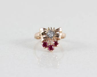 Ruby  14k Yellow Gold Art Deco Ruby and Diamond Bow Ring Size 5 1/2