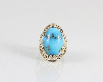 10k Yellow Gold Natural Morenci Turquoise Ring Size 6 1/4 Art Deco