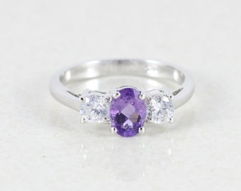 Amethyst and Topaz Sterling Silver Ring size 7 1/4