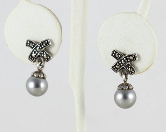 Sterling Silver Marcasite and Grey Pearl Dangle Drop Earrings