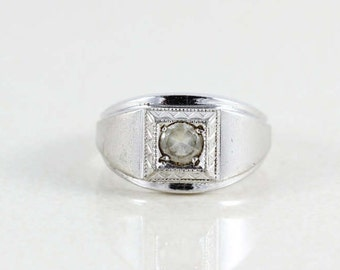Mens Sterling Silver CZ Ring Size 9 1/2