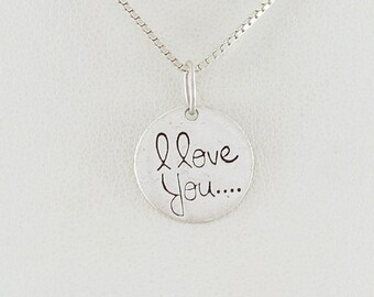 Sterling Silver I Love You Necklace 18 inch box chain
