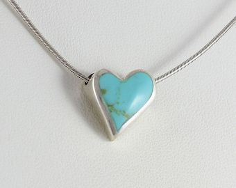 Sterling Silver Turquoise Heart choker chain Necklace 16 inch snake chain