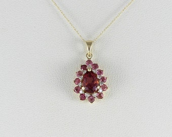 Pink and Purple Tourmaline and Diamond Halo Necklace 14k Yellow Gold  with 18 inch chain
