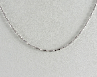 14K White Gold Beaded chain Necklace 16 inch