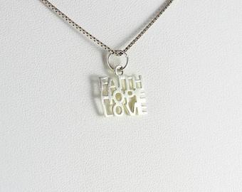 Sterling Silver Hope Faith Love Heart Pendant