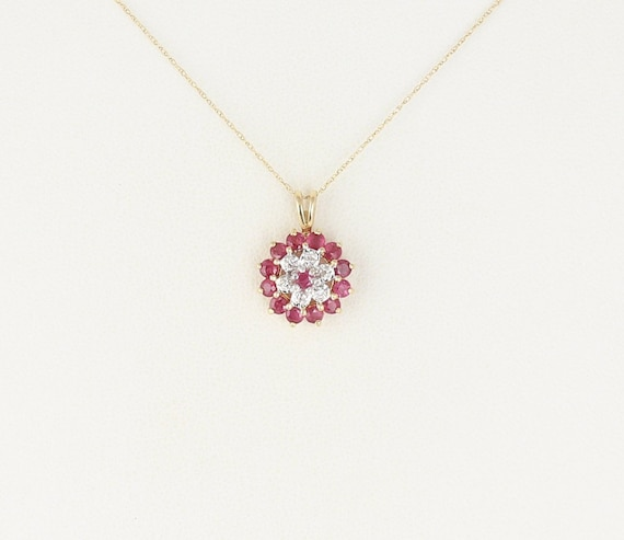Natural Ruby And Diamond Necklace 14k Yellow Gold 18 Inch Chain by Etsy