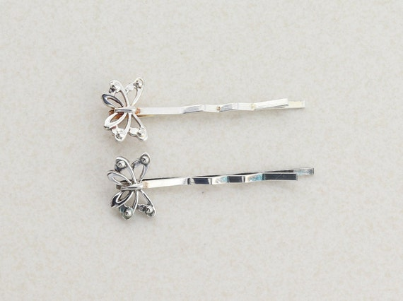 Sterling Silver Butterfly Bobby Pin Barrette Set of Two