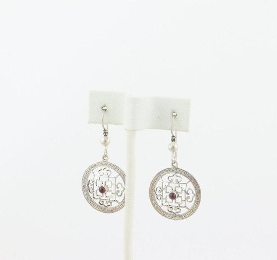 Sterling Silver Garnet Earrings Dangle Drop Earri… - image 6