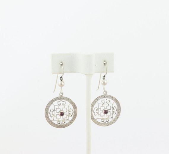 Sterling Silver Garnet Earrings Dangle Drop Earri… - image 4
