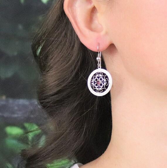 Sterling Silver Garnet Earrings Dangle Drop Earri… - image 2