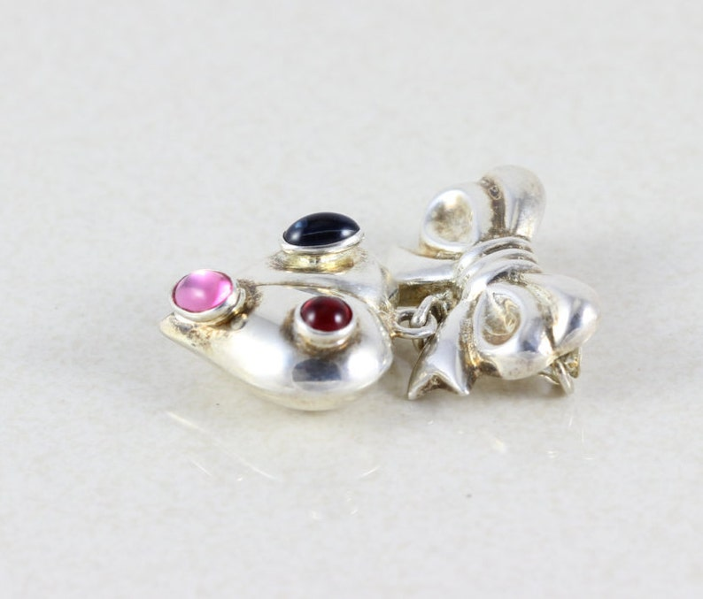 Sterling Silver Heart Bow Pink Blue Red Topaz Pin Brooch