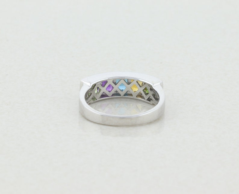 Sterling Silver Amethyst Peridot Citrine Topaz Band Ring size 7