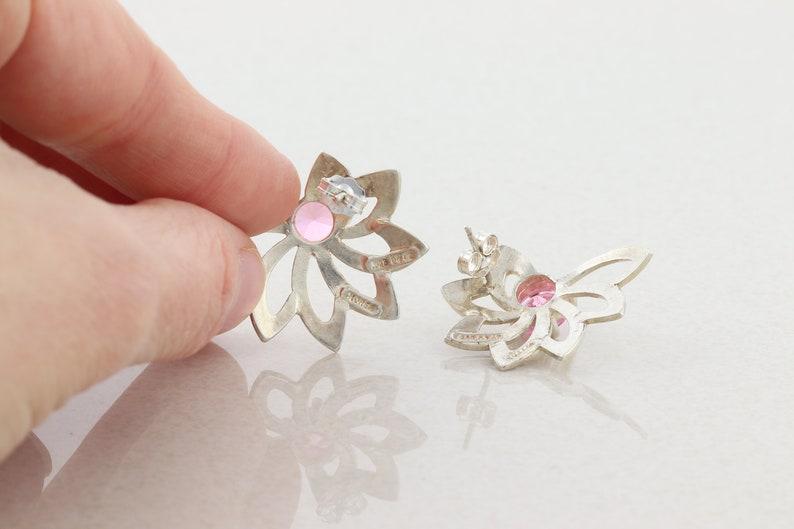 Sterling Silver Pink CZ Flower Earrings Stud Post Earrings