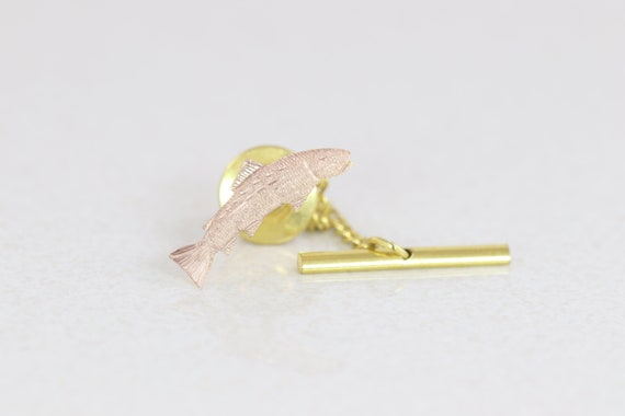 Tie Tack Tie Pin Stick Pin Fish Lapel Pin 10k Rose