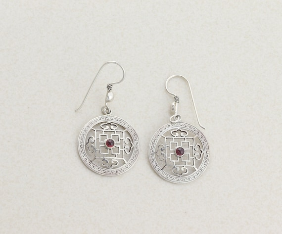Sterling Silver Garnet Earrings Dangle Drop Earrin