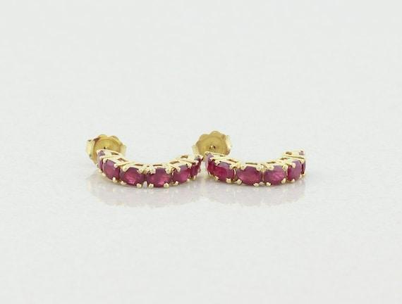 14k Yellow Gold Natural Ruby Earrings Half Hoop Ea