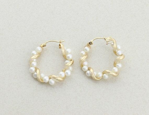 10k Yellow Gold Cultured Pearl Earrings Hoop Earri