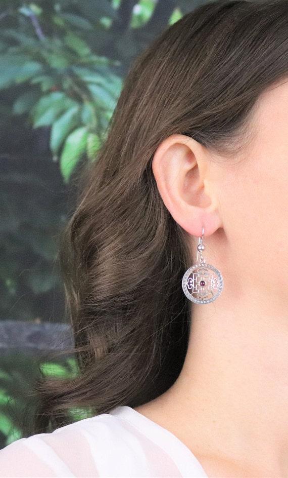 Sterling Silver Garnet Earrings Dangle Drop Earri… - image 3